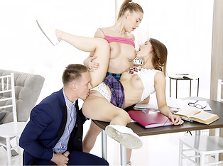 Well-hung tutor serves two students